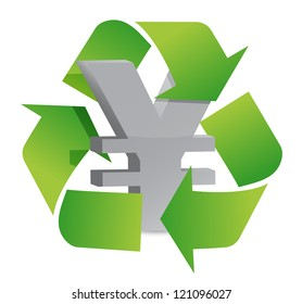 yen recycle illustration sign over a white background