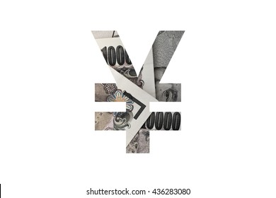 Yen symbol  text with collage of Japanese currency