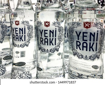 Yeni Raki is a sweetened, often anise-flavoured, alcoholic drink that is popular in Albania, Turkic countries, Turkey and in the Balkan countries as an apéritif.  Istanbul/ Turkey - April 2019