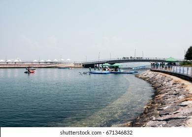 YEOSU, KOREA - August 15, 2015 : Sea and tourist in summer day