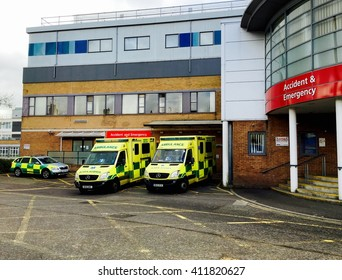 Yeovil, England - 26th April 2016: Accident and Emergency Department of Yeovil District Hospital. Ambulances parked outside the entrance.