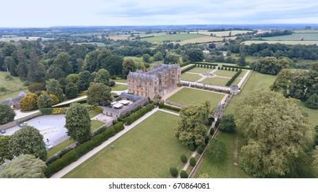 "Yeovil, Somerset, UK - 23rd June 2017: Aerial view of ""Monacute House"", National Trust , UK"
