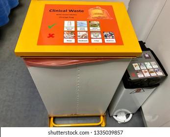 "Yeovil, UK - 3rd March 2019: ""Clinical waste bin"" in emergency room of hospital"