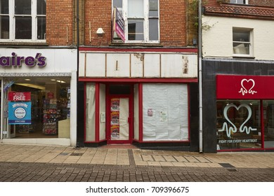 Yeovil, United Kingdom - August 30th 2017: Vacant retail shop premises in Yeovil town center that never recovered fully from the financial crisis. As of August, many shops are empty within the town.