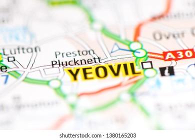 Yeovil. United Kingdom on a geography map