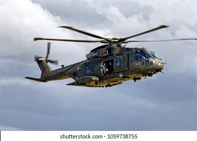 Yeovilton, Somerset, UK - July 11, 2015: A Royal Air Force AugustaWestland Merlin HC.3 Helicopter, ZJ123.