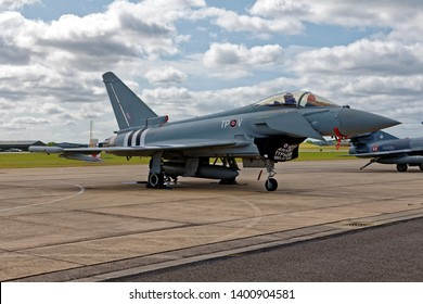 Yeovilton, Somerset /UK -July 11 2015: RAF Eurofighter Typhoon FGR.4 ZK308/TP-V of 29(R) Squadron, at the RNAS Yeovilton Air Day, it is painted to represent Hawker Typhoon MN526 TP-V which flew in WW2