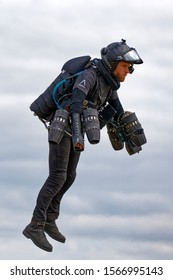 Yeovilton, Somerset / UK - July 13 2019:Gravity Industries Inventor and Ex-Royal Marines Reservist Richard Browning nicknamed the real-life Iron Man flies his 1000bhp jet suit at RNAS Yeovilton Airday