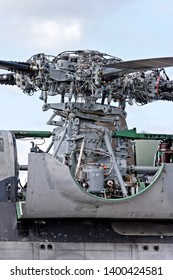 Yeovilton, Somerset / UK - July 7 2007: The main rotor head assembly of a Flotilla 32F French Navy/Aéronavale Aérospatiale SA 321G Super Frelon helicopter
