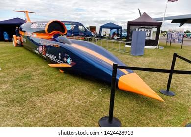 Yeovilton, Somerset / UK - July 8 2017: The Bloodhound SSC British supersonic land vehicle on public display at the 2017 RNAS Yeovilton International Airshow