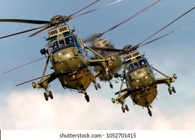 Yeovilton, Somerset, UK - September 16, 2005: Westland Sea King HC.4 Helicopters flying in formation