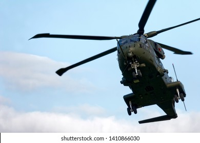 Yeovilton, Somerset / UK - September 17 2005: A Royal Air Force Merlin HC.3 Helicopter at the Yeovilton International Air Day 2005.