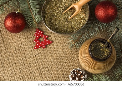 yerba mate with christmas decorations. yerba mate christmas concept background