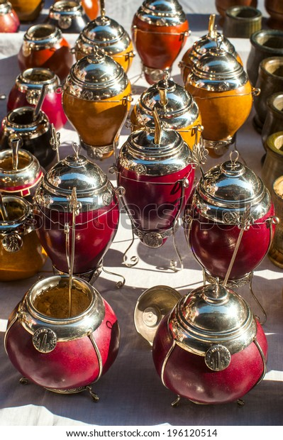 Yerba mate cups sold in the market in San Telmo, Buenos Aires, Argentina