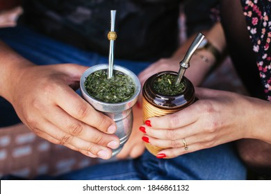 Yerba mate tea in bombilla. Special metal straw. Sout America popular hot drink. Couple drinking healthy herbal beverage. Engagement outdoor picnic. - Shutterstock ID 1846861132