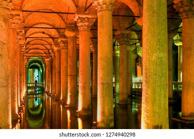 Yerebatan Cistern Museum. Byzantine cisterns, was built by Justinian in 532AD. It is supported by 336 columns and once held over 80,000 cubic metres of water.Istanbul.Turkey. October 2018