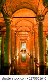 Yerebatan Cistern Museum. Byzantine cisterns, was built by Justinian in 532AD. It is supported by 336 columns and once held over 80,000 cubic metres of water. Istanbul. Turkey. October 2018