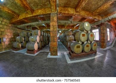 YEREVAN, ARMENIA - 05 AUGUST 2017: Noy (Ararat) Brandy factory museum visit with congac tasting
