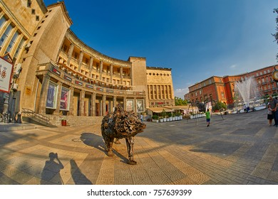 YEREVAN, ARMENIA - 05 AUGUST 2017: Charles Aznavour's square at crossing of Tumanyan and Abovyan streets in Yerevan City