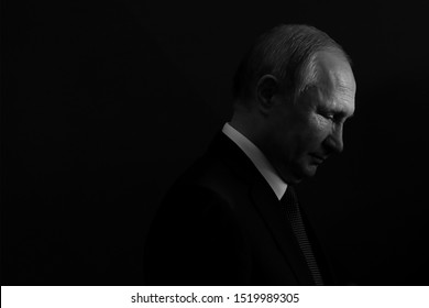 Yerevan, Armenia - 1 October 2019: President of Russia Vladimir Putin has arrived in Yerevan, Armenia to take part at the session of the supreme Eurasian Economic council.