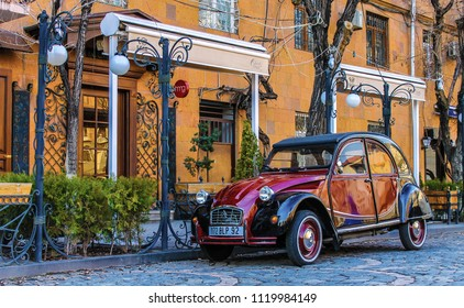 Yerevan, Armenia - 11 May 2017. Pretty oldschool Citroen 2CV near the thematic french cafe at Yerevan's centre.