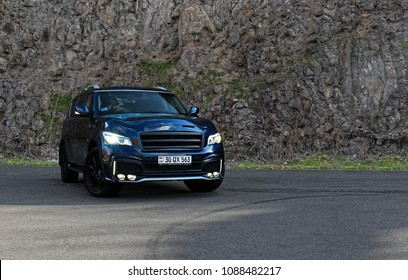 Yerevan, Armenia - 12 March 2018  Look at this full-size japan SUV. Powrful, luxury, strong and angry as hell! Ifiniti QX80 is great competitor for american SUV's.