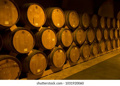 YEREVAN, ARMENIA, 21 SEPTEMBER 2017: Wooden barrels of aged wine at the Brandy Factory of Noy (Ararat) of Yerevan Armenia.