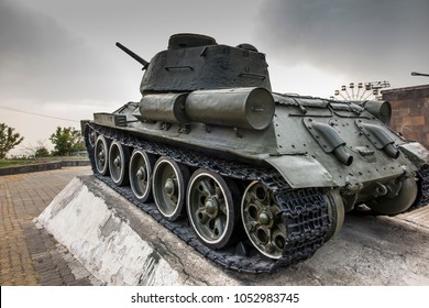 Yerevan, Armenia, 21 September 2017: An old tank exhibited as a monument at Victory Park in Yerevan, Armenia