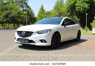Yerevan, Armenia - 28 August 2018 Pearl white Mazda 6 from different views