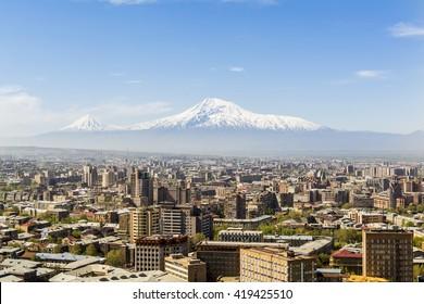 YEREVAN, ARMENIA - APRIL 18:  A view of Yerevan city  with Ararat mountain in background on April 18, 2016 in Yerevan.