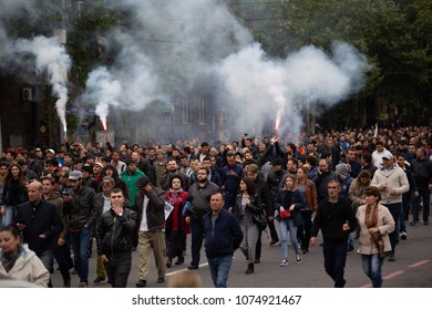 Yerevan, Armenia - April 21 2018: People walking on streets of Yerevan in protest against new prime minister - Serzh Sargsyan