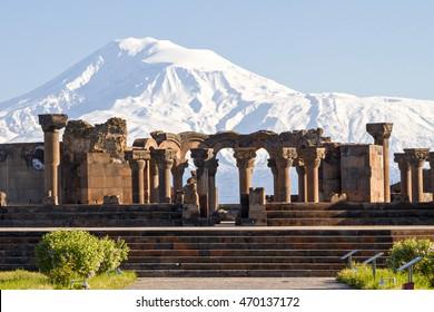YEREVAN, ARMENIA - APRIL 25, 2015: Mount Ararat and the ruins of the Zvartnots Cathedral in Yerevan, Armenia.