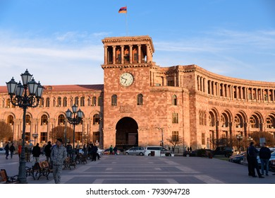 YEREVAN, ARMENIA - APRIL 3, 2017: The Government House of Armenia and the Republic Square in the center of Yerevan, Armenia.