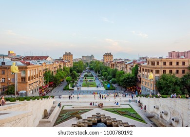 YEREVAN, ARMENIA - AUGUST 1: View over cascade stairs and Tamanyan park, famous spot in Yerevan, Armenia. August 2017