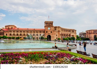 YEREVAN, ARMENIA - AUGUST 2: Republic square with the fountain and clock tower in Armenia capital. August 2017