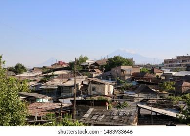 Yerevan Armenia - August 2019 - Going along the city slum