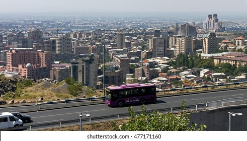 YEREVAN, ARMENIA - AUGUST 22, 2016:One of the central streets of Yerevan, the capital and largest in terms of population and area of the city of Armenia, one of the oldest cities in the world.