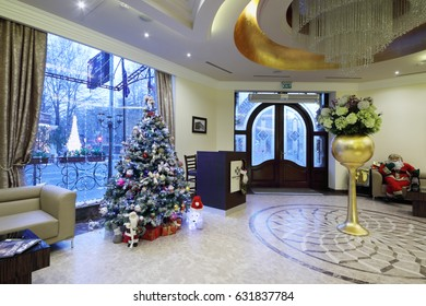 YEREVAN, ARMENIA - JAN 5, 2017: Entrance in Hotel National, it is modern hotel, member of Luxury Group