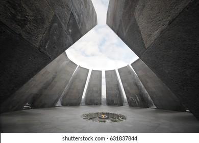 YEREVAN, ARMENIA - JAN 5, 2017: Fire in Memorial complex Tsitsernakaberd, dedicated to genocide of armenians in 1915