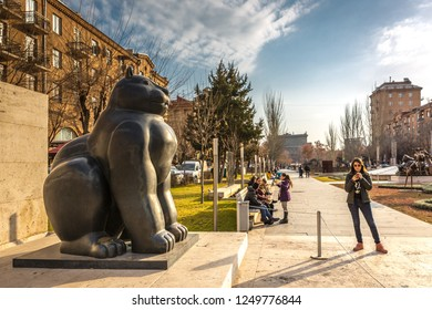 Yerevan, Armenia - Jan 8th 2018 - Tourists and locals enjoying the open air museum at the Cascade in Yerevan, Armenia