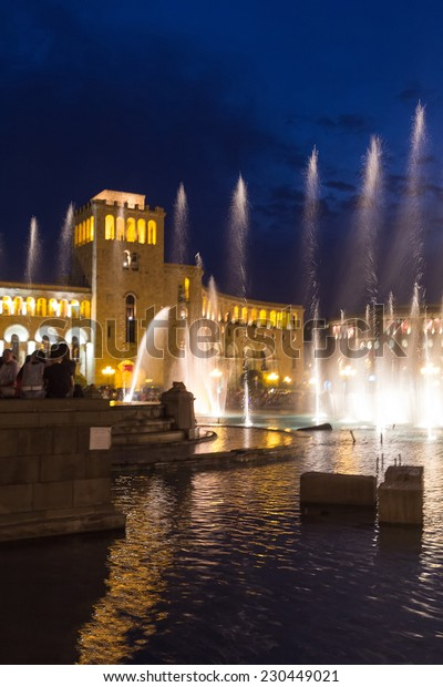 YEREVAN, ARMENIA - JULY 04, 2013: Singing fountains in the central Republic Square. The city Yerevan has a population of 1 million people