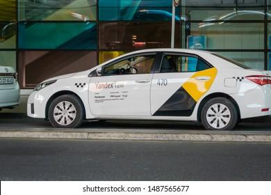 Yerevan, Armenia - July 2019: Yandex taxi vehicle at Yerevan Zvartnots International Airport. Yandex Taxi is an IT company operates ride-hailing tech businesses across Russia, CIS, Europpe
