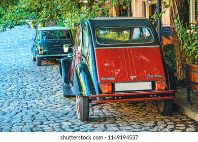YEREVAN, ARMENIA - July  23, 2018: Old Citroen 2cv parked  in Tamanyan cobbled street. Back view
