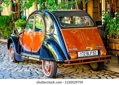 YEREVAN, ARMENIA - July  23, 2018: Old Citroen 2cv Charleston French retro car parked in Tamanyan street. Back view