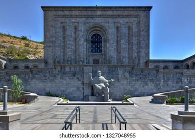 Yerevan, Armenia - July 8, 2018: Matenadaran (the Mesrop Mashtots Institute of Ancient Manuscripts) is a repository of ancient manuscripts, research institute and museum in Yerevan, Armenia.