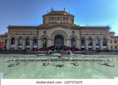Yerevan, Armenia - July 9, 2018: History Museum of Armenia in Republic Square, the central town square in Yerevan, the capital of Armenia.