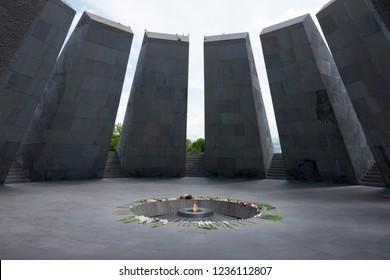 Yerevan, Armenia- Jun 02 2018- Armenian Genocide Memorial and Museum in Yerevan, Armenia. Armenian Genocide Museum is Armenia official memorial dedicated to the victims of the Armenian Genocide.