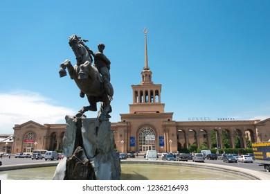 Yerevan, Armenia- Jun 04 2018- Statue of David of Sassoun in Yerevan Railway Station. a famous tourist spot in Yerevan, Armenia.