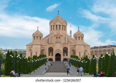 Yerevan, Armenia- Jun 05 2018- Saint Gregory The Illuminator Cathedral. a famous tourist spot in Yerevan, Armenia.