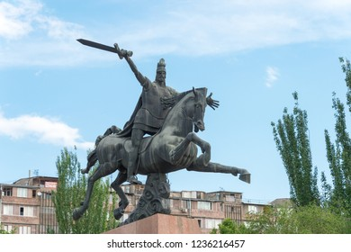 Yerevan, Armenia- Jun 05 2018- VARDAN MAMIKOYAN Statue in Yerevan, Armenia. He is 4th-5th century Armenian military leader,